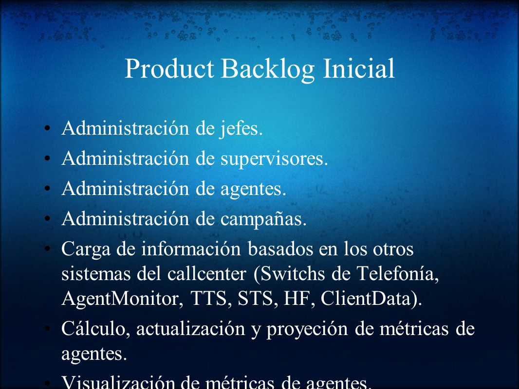 Product Backlog Inicial