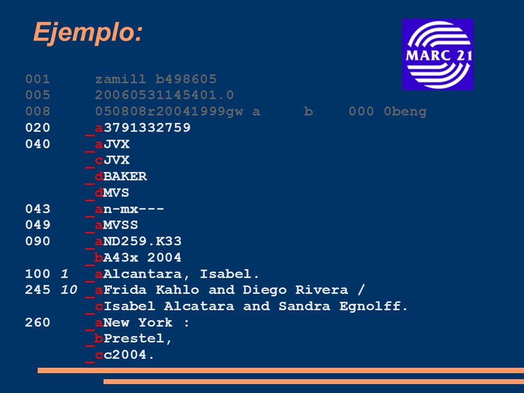 Ejemplo: 001 zamill b498605. 005 20060531145401.0. 008 050808r20041999gw a b 000 0beng.