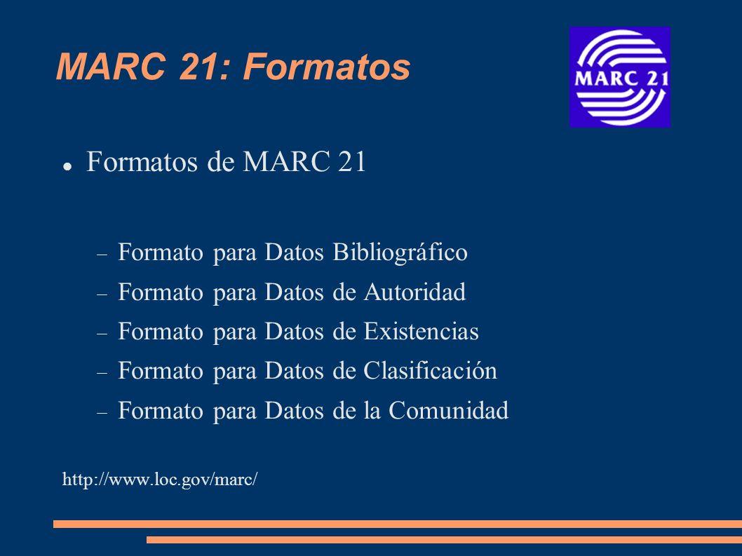 MARC 21: Formatos Formatos de MARC 21 Formato para Datos Bibliográfico
