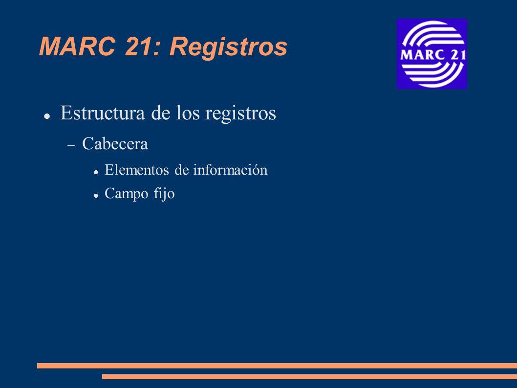 MARC 21: Registros Estructura de los registros Cabecera