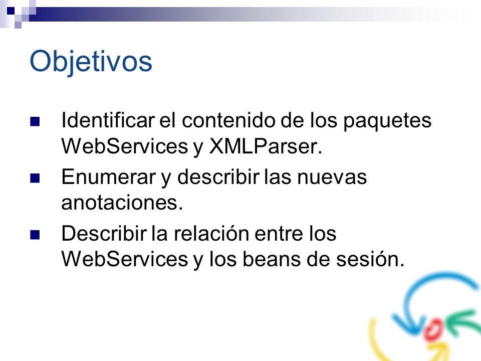 Objetivos Identificar el contenido de los paquetes WebServices y XMLParser. Enumerar y describir las nuevas anotaciones.