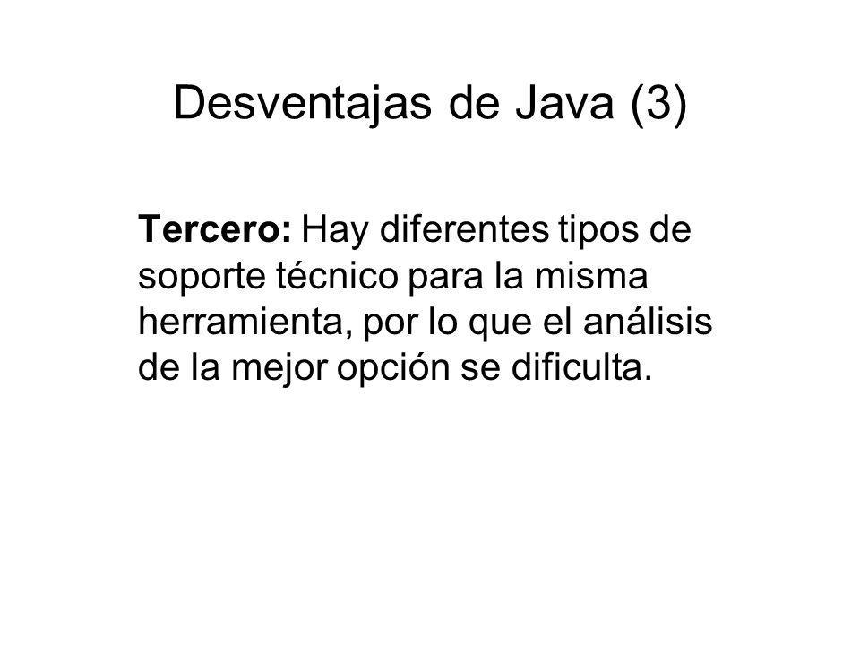 Desventajas de Java (3)
