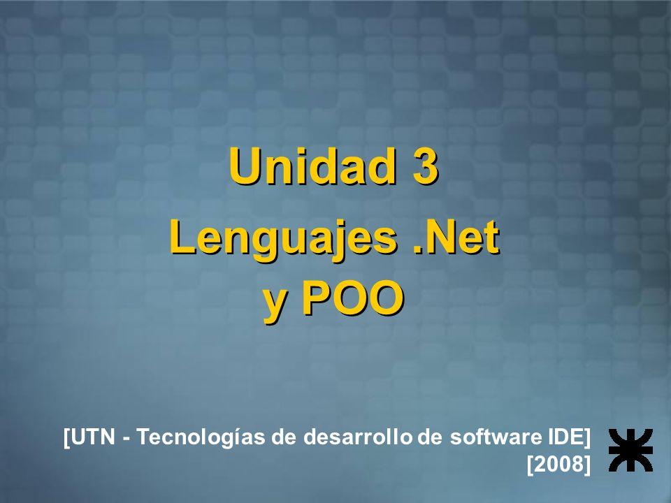 Unidad 3 Lenguajes .Net y POO