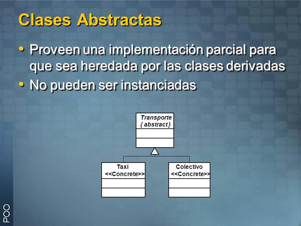 Clases Abstractas Proveen una implementación parcial para que sea heredada por las clases derivadas.