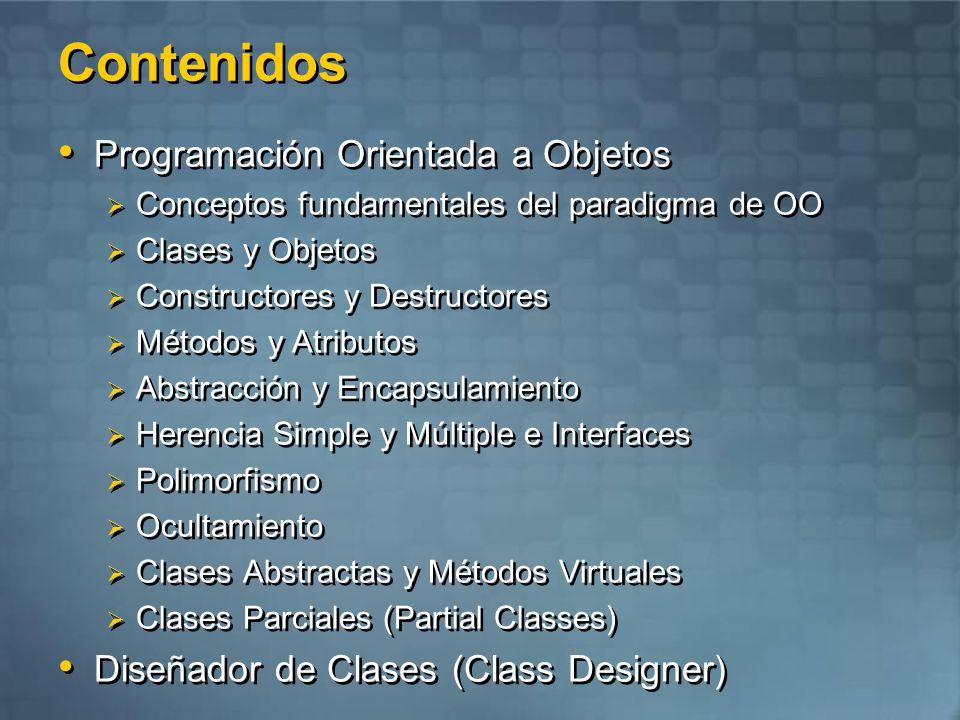 Contenidos Programación Orientada a Objetos