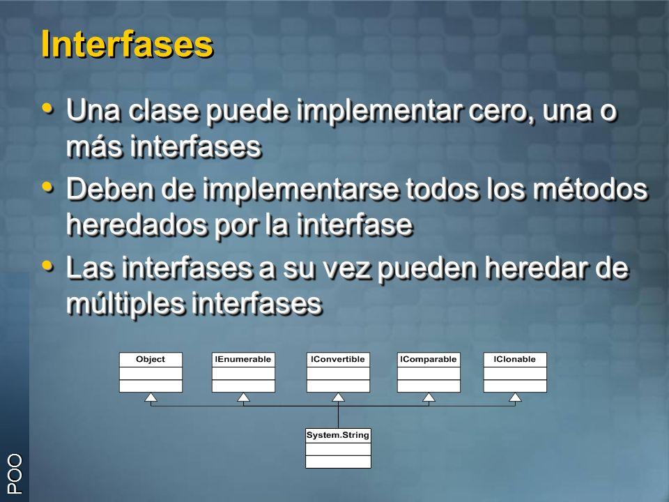 Interfases Una clase puede implementar cero, una o más interfases