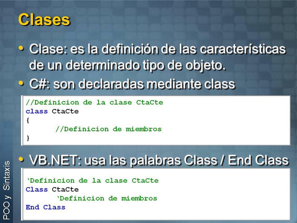 Clases Clase: es la definición de las características de un determinado tipo de objeto. C#: son declaradas mediante class.