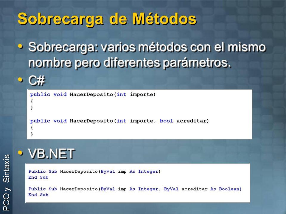 Sobrecarga de Métodos Sobrecarga: varios métodos con el mismo nombre pero diferentes parámetros. C#