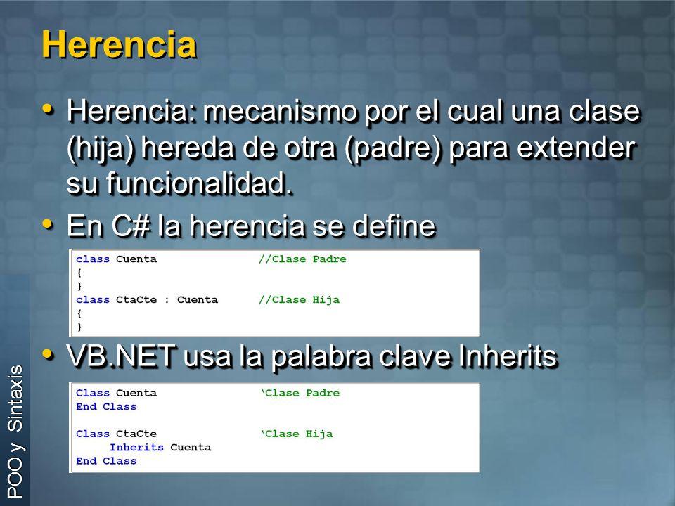 Herencia Herencia: mecanismo por el cual una clase (hija) hereda de otra (padre) para extender su funcionalidad.