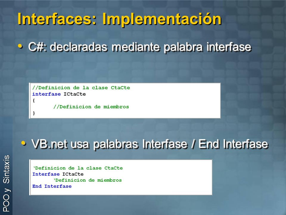 Interfaces: Implementación