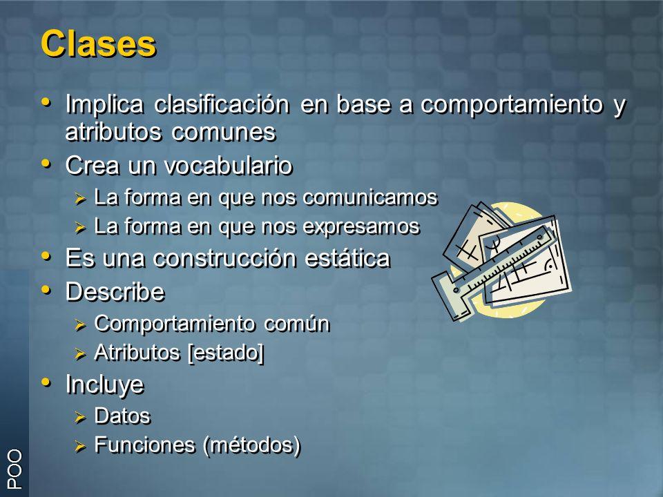 Clases Implica clasificación en base a comportamiento y atributos comunes. Crea un vocabulario. La forma en que nos comunicamos.