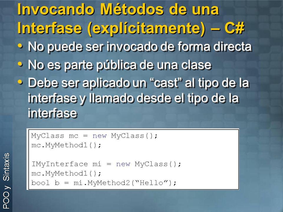 Invocando Métodos de una Interfase (explícitamente) – C#