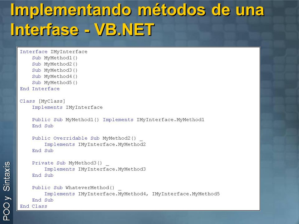 Implementando métodos de una Interfase - VB.NET