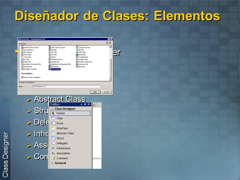 Diseñador de Clases: Elementos