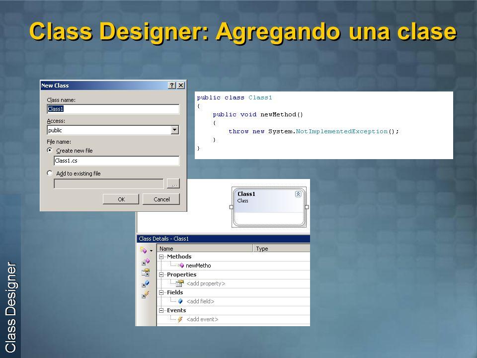 Class Designer: Agregando una clase