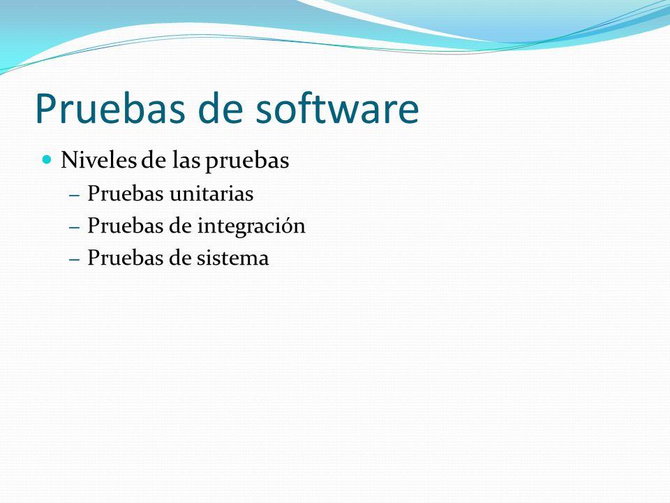 Pruebas de software Niveles de las pruebas Pruebas unitarias