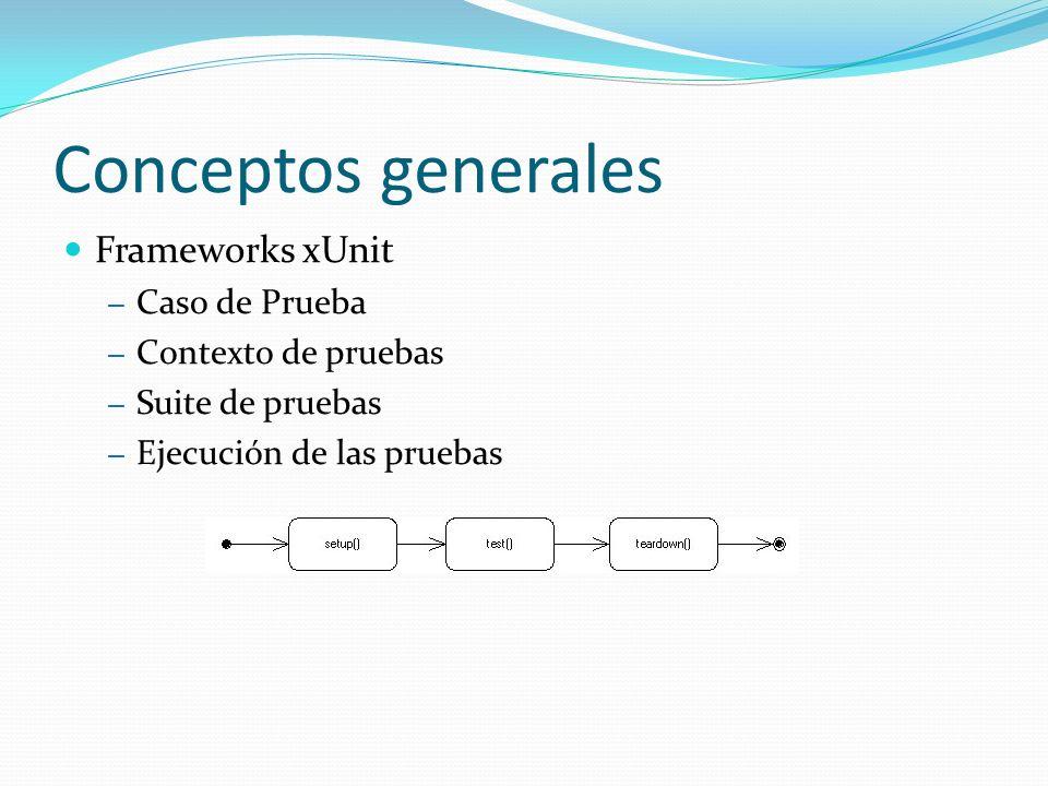 Conceptos generales Frameworks xUnit Caso de Prueba