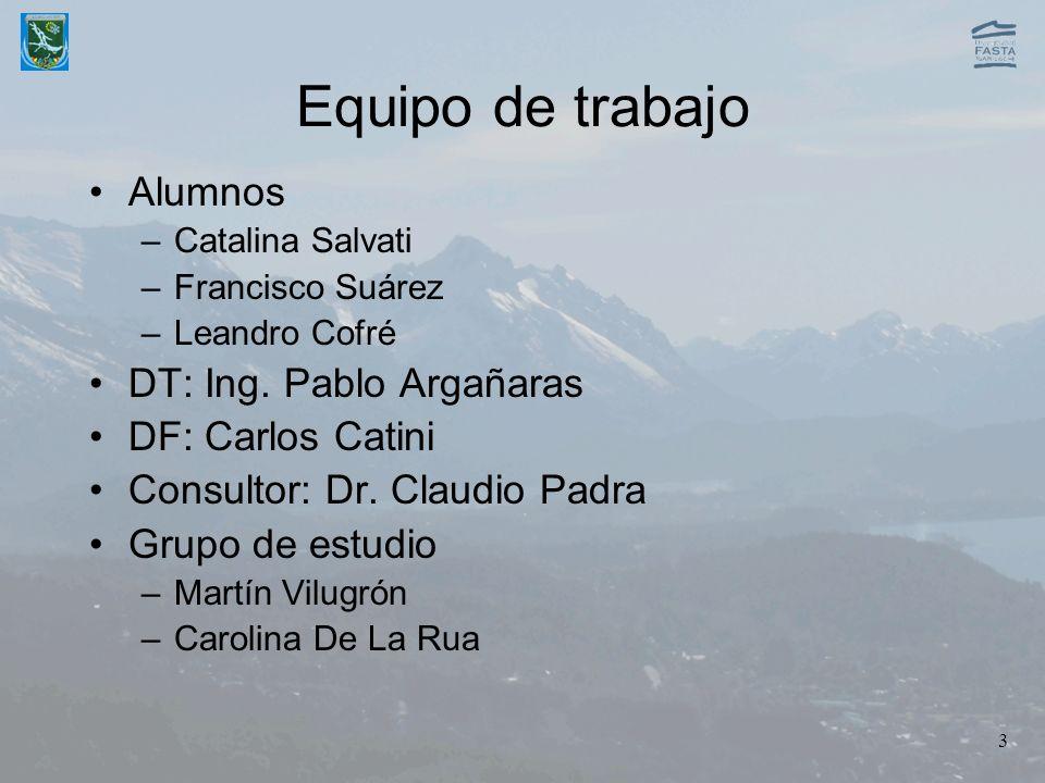 Equipo de trabajo Alumnos DT: Ing. Pablo Argañaras DF: Carlos Catini