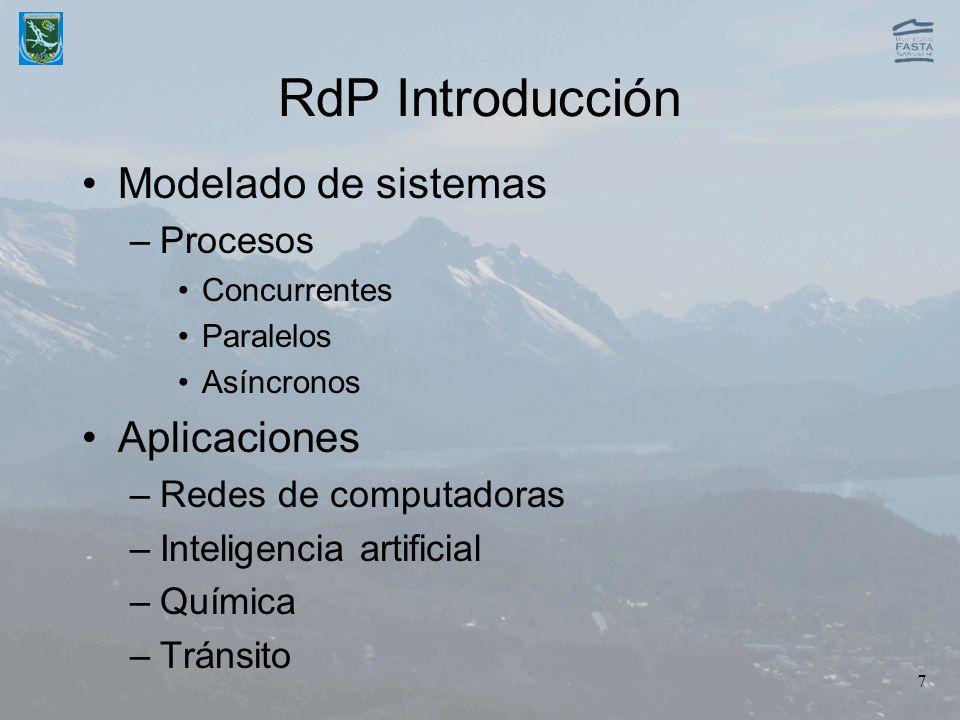 RdP Introducción Modelado de sistemas Aplicaciones Procesos