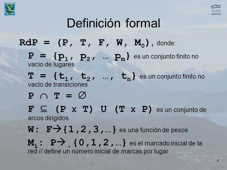 Definición formal RdP = (P, T, F, W, M0), donde: