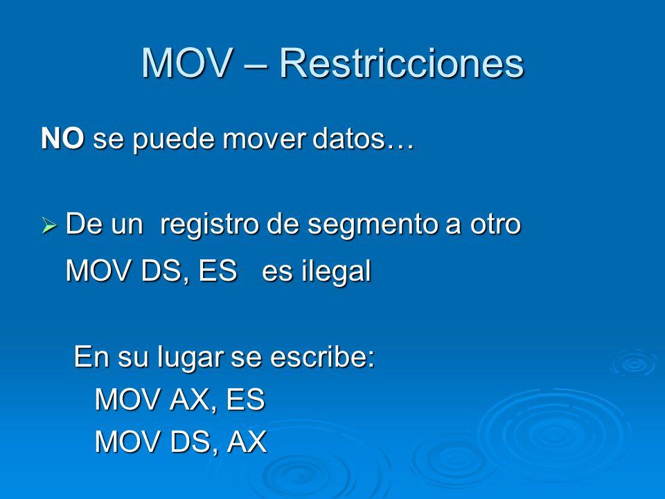 MOV – Restricciones MOV DS, ES es ilegal NO se puede mover datos…