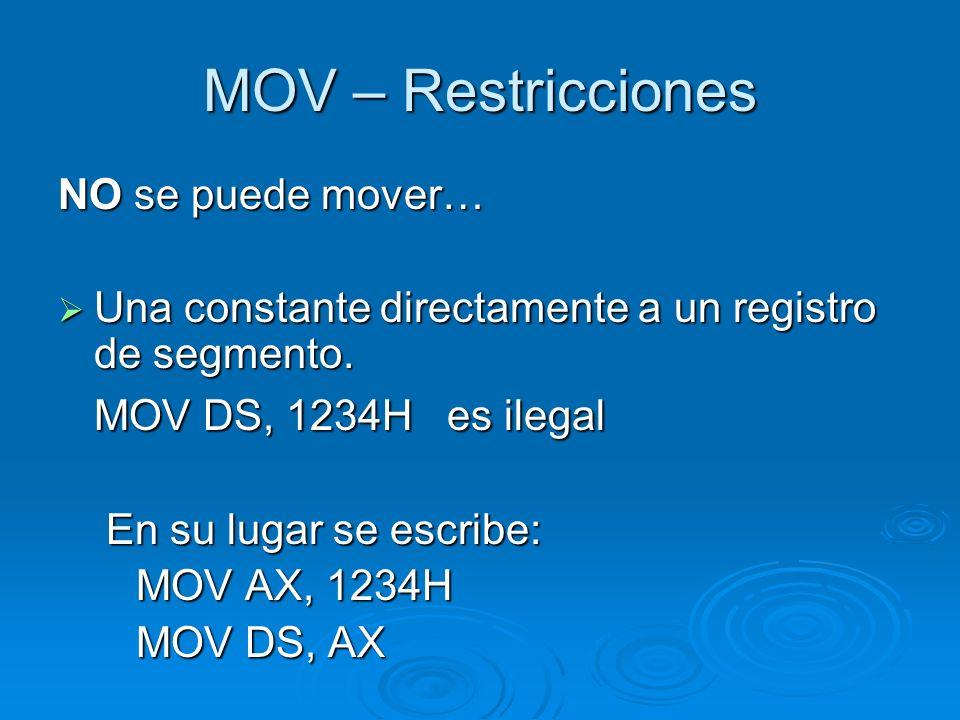 MOV – Restricciones MOV DS, 1234H es ilegal NO se puede mover…