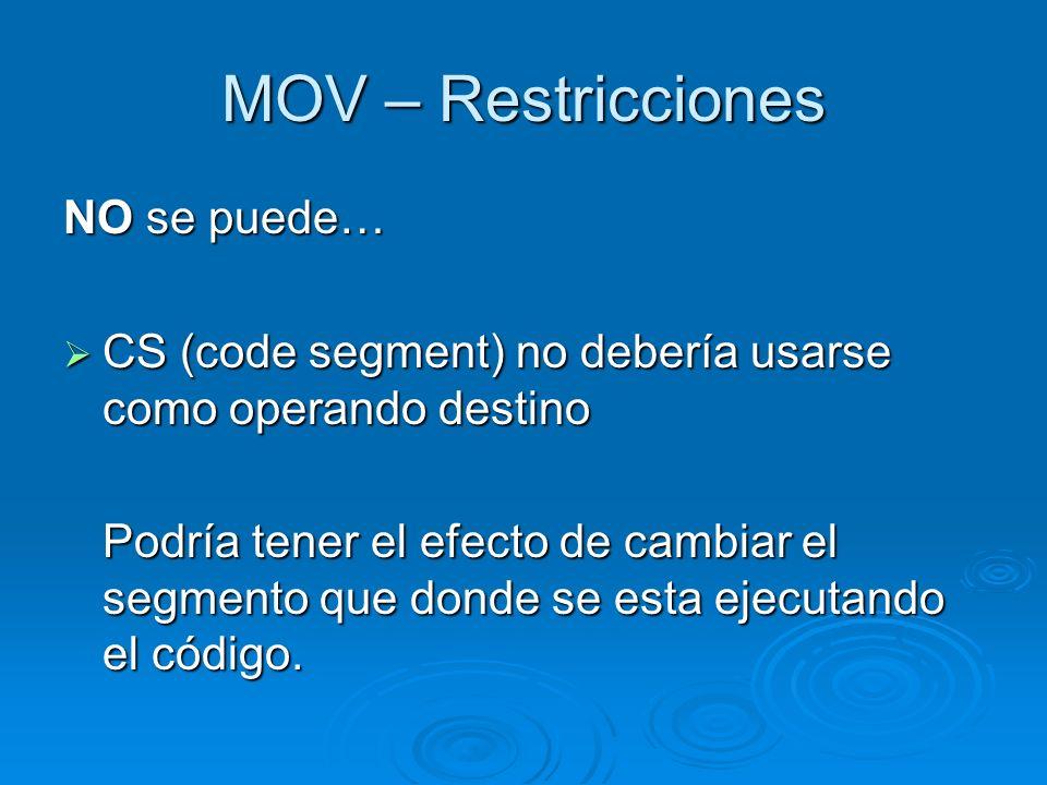 MOV – Restricciones NO se puede…