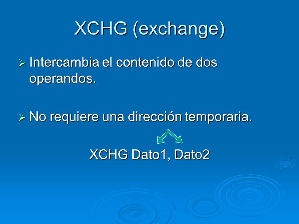 XCHG (exchange) Intercambia el contenido de dos operandos.