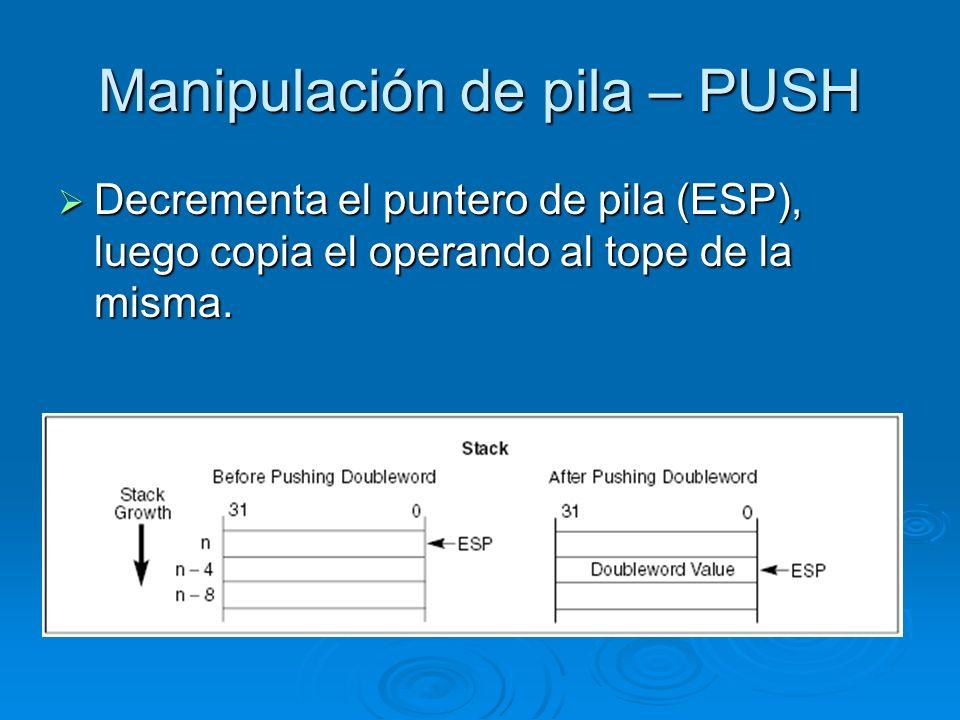 Manipulación de pila – PUSH