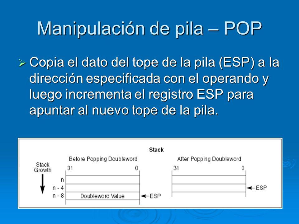 Manipulación de pila – POP