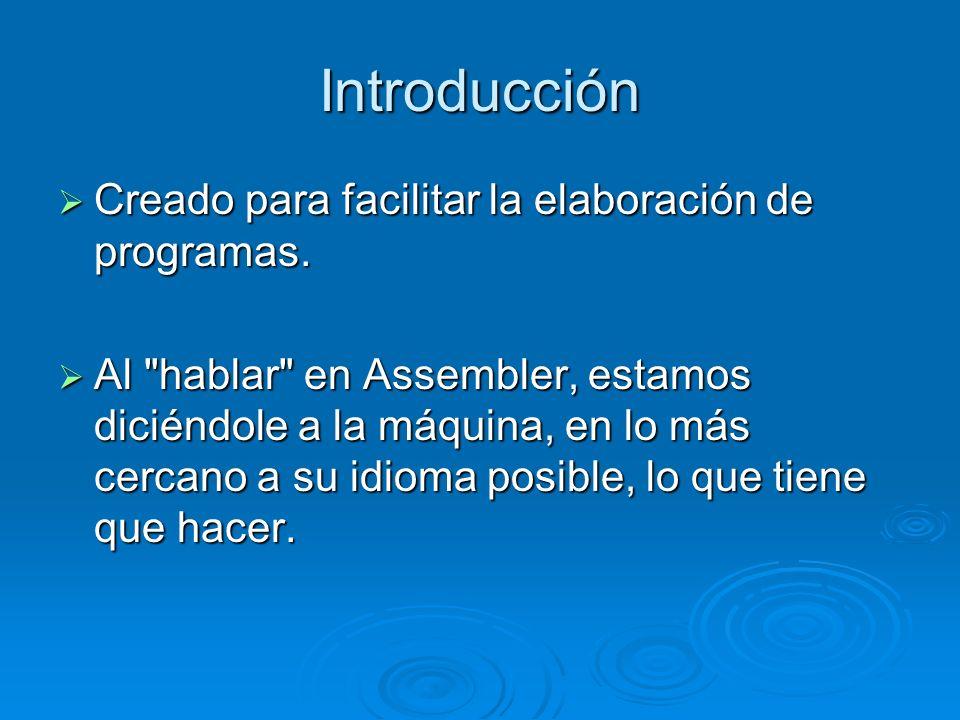 Introducción Creado para facilitar la elaboración de programas.