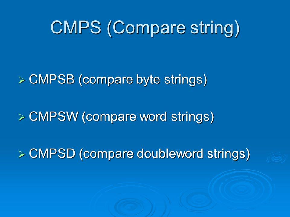 CMPS (Compare string) CMPSB (compare byte strings)
