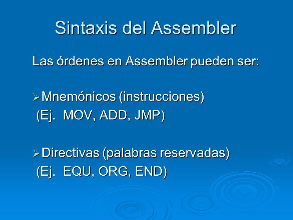 Sintaxis del Assembler