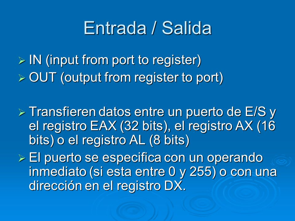 Entrada / Salida IN (input from port to register)