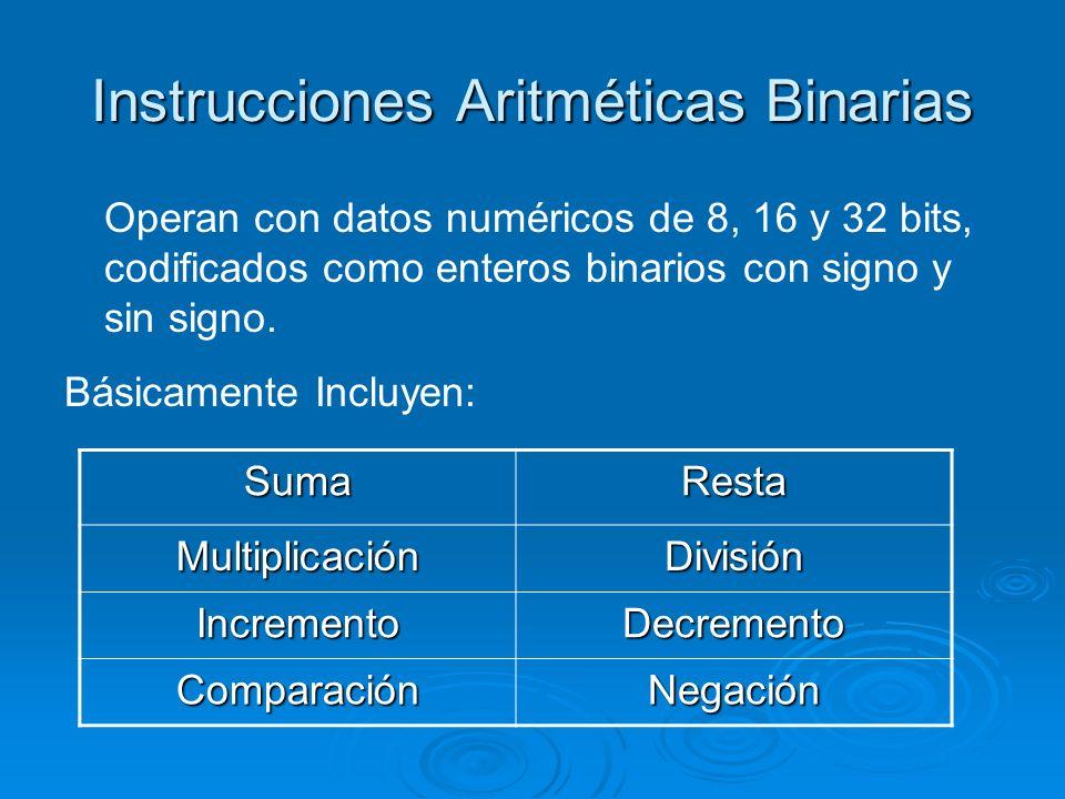 Instrucciones Aritméticas Binarias