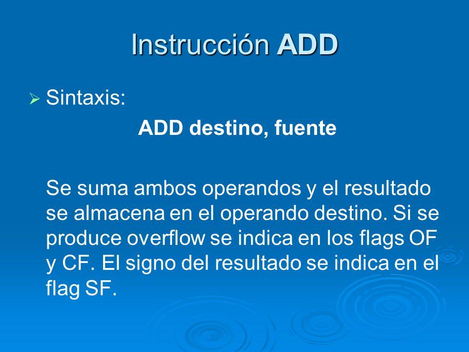 Instrucción ADD Sintaxis: ADD destino, fuente