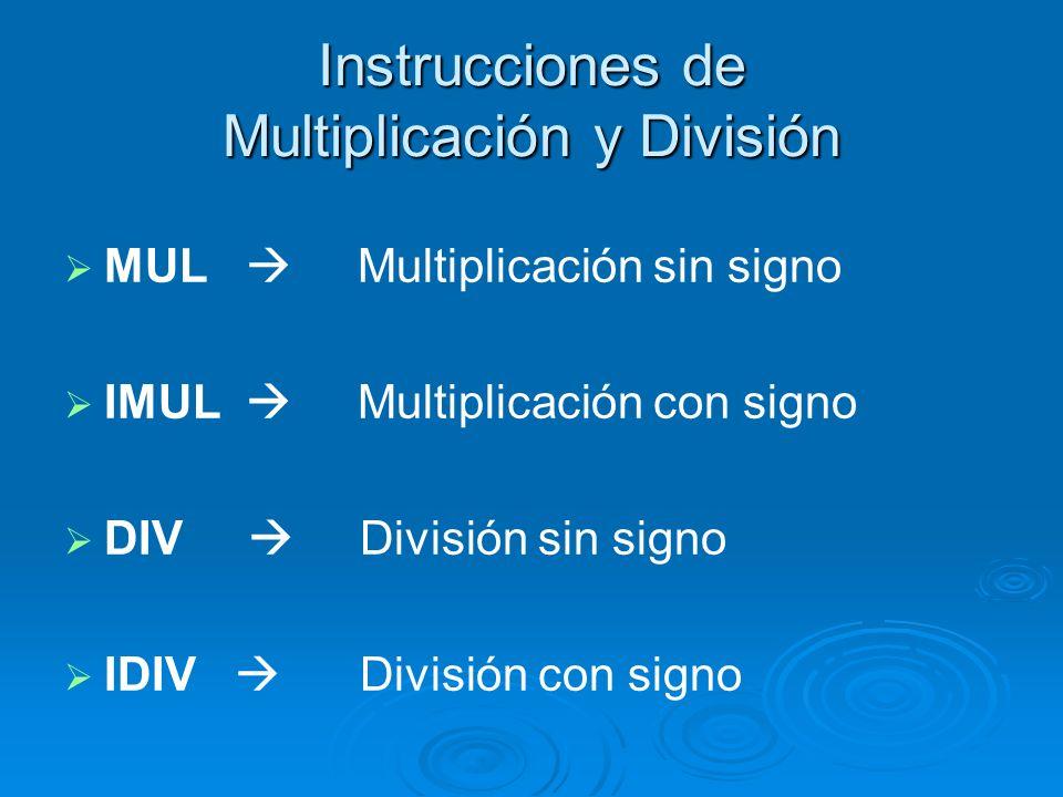 Instrucciones de Multiplicación y División