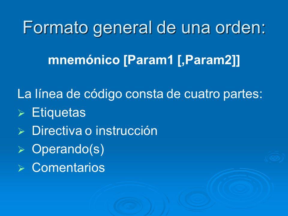 Formato general de una orden: