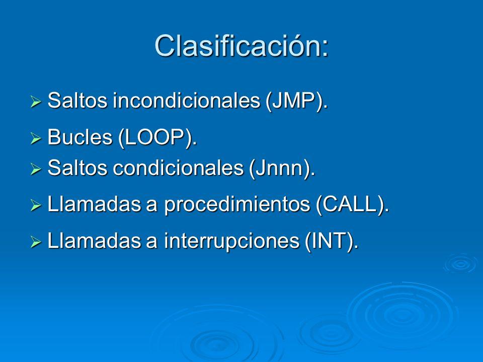 Clasificación: Saltos incondicionales (JMP). Bucles (LOOP).