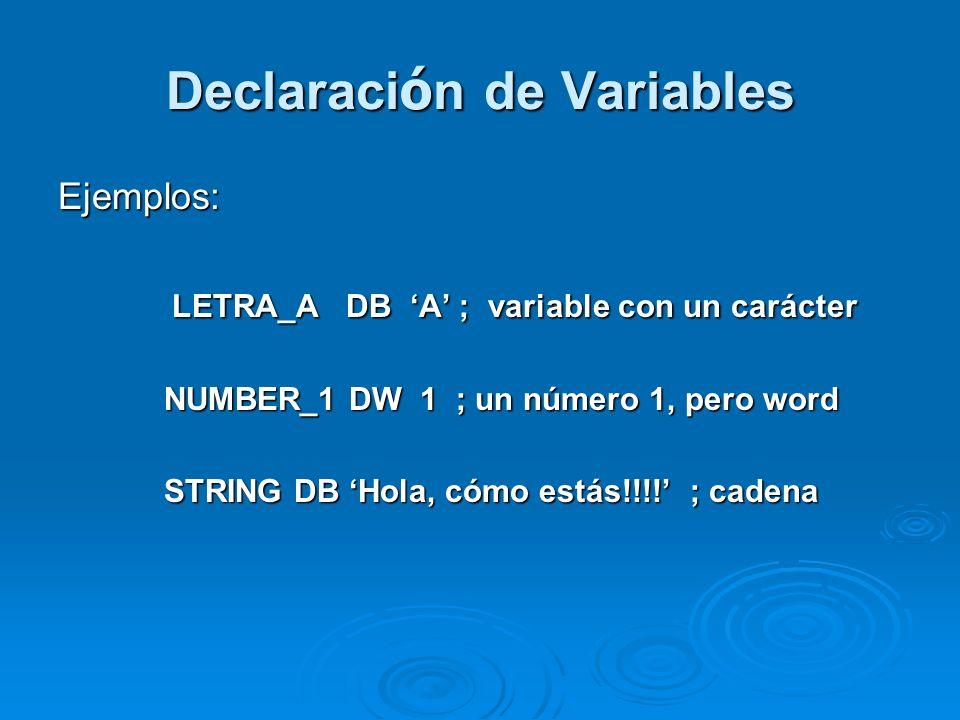 Declaración de Variables