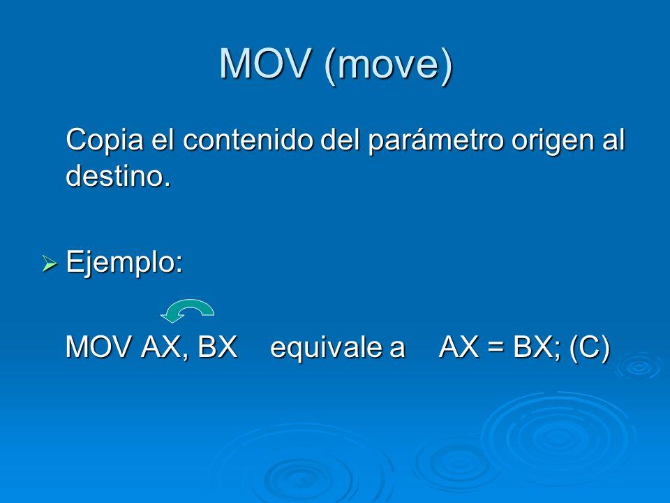 MOV (move) Copia el contenido del parámetro origen al destino.