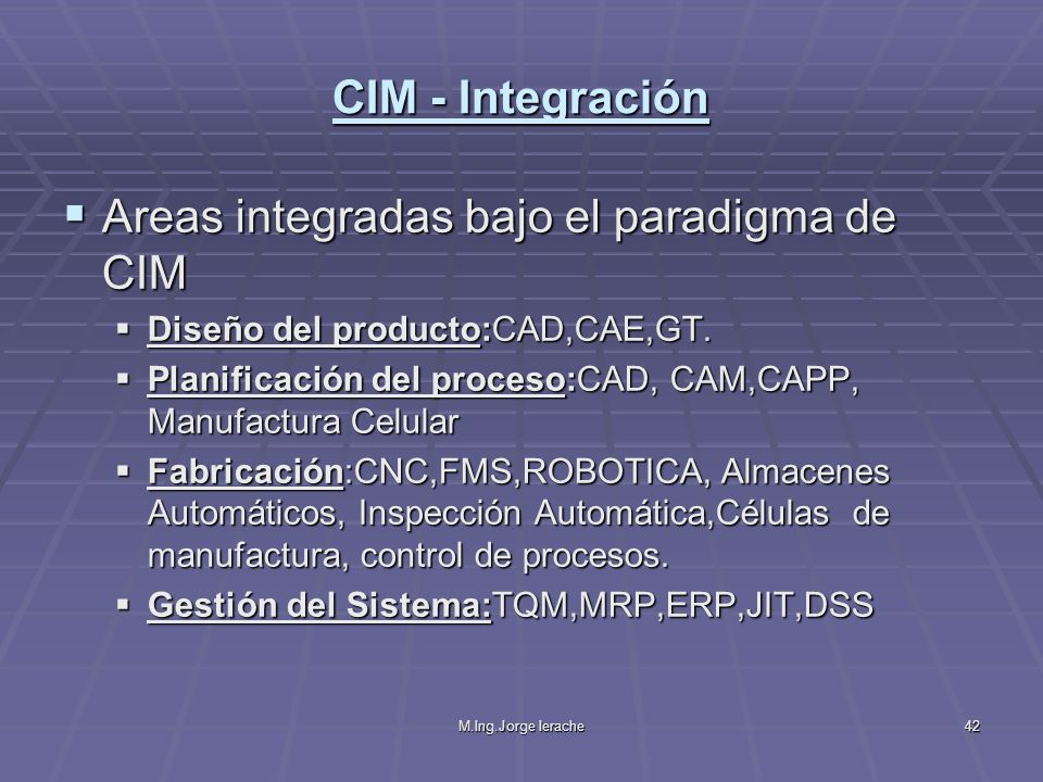 Areas integradas bajo el paradigma de CIM