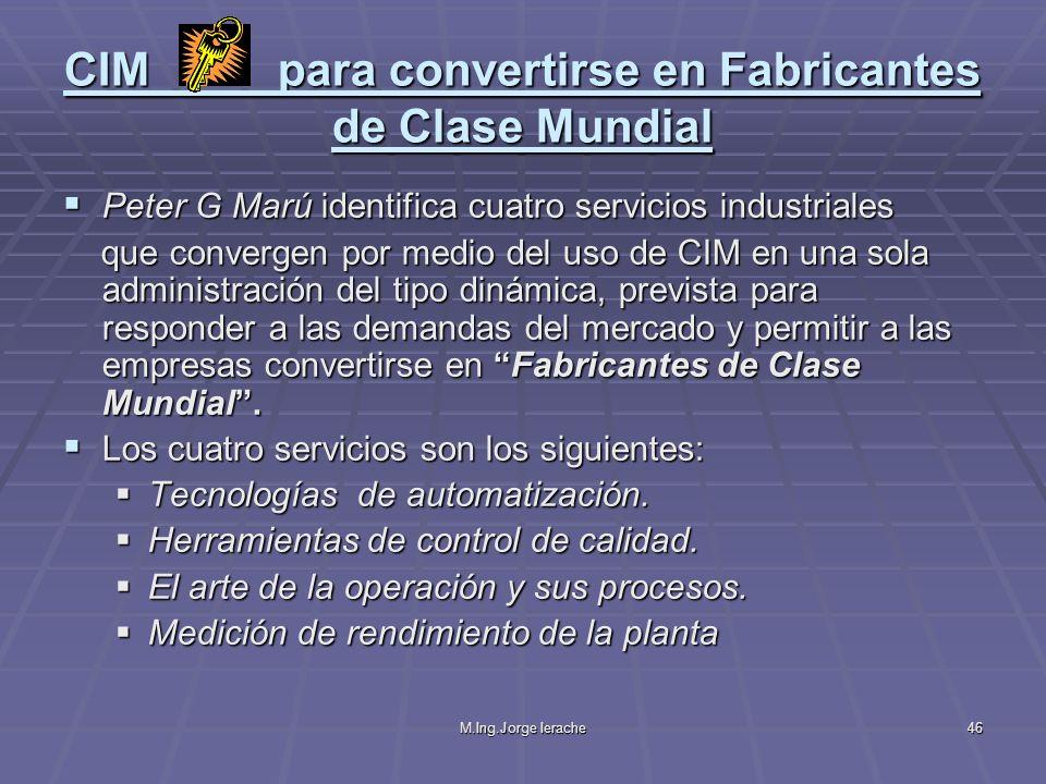 CIM para convertirse en Fabricantes de Clase Mundial