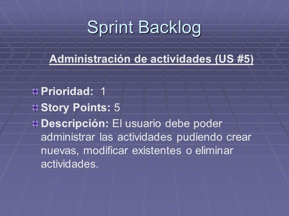 Administración de actividades (US #5)
