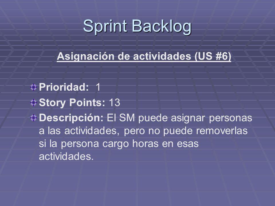 Asignación de actividades (US #6)