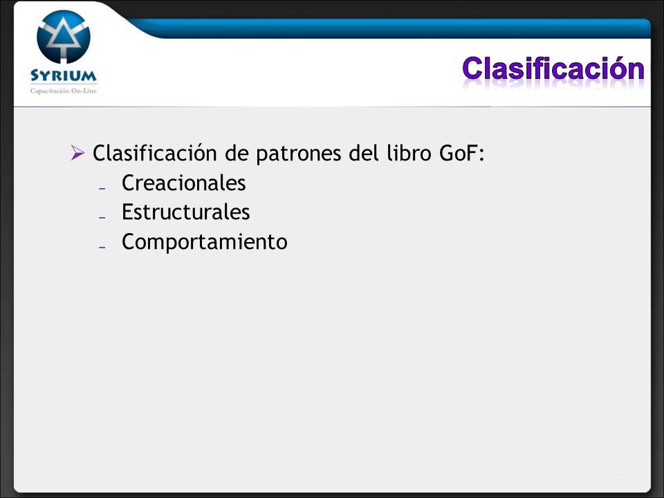 Clasificación Clasificación de patrones del libro GoF: Creacionales