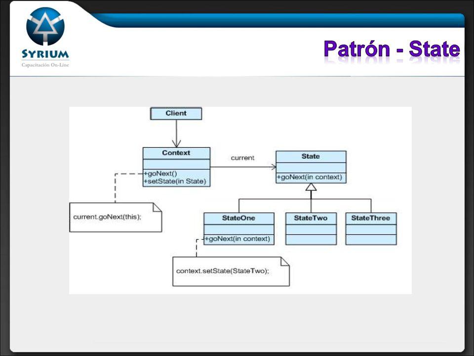 Patrón - StateEl patrón State permite a un objeto alterar su comportamiento cuando su estado interno cambia.