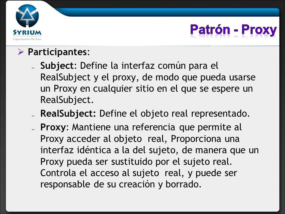 Patrón - Proxy Participantes: