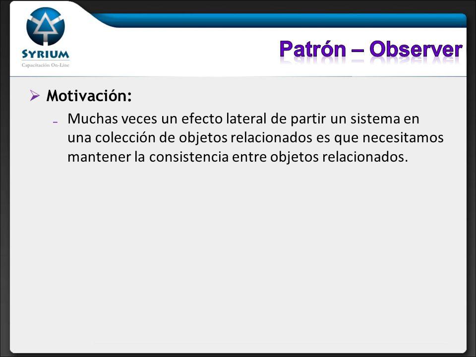 Patrón – Observer Motivación: