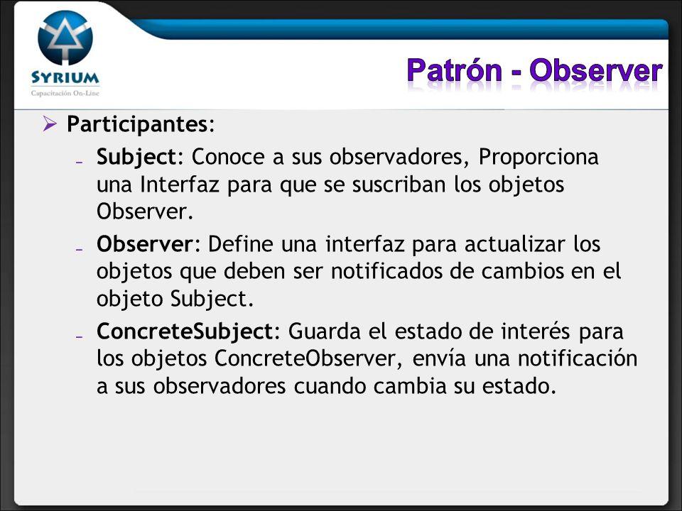 Patrón - Observer Participantes: